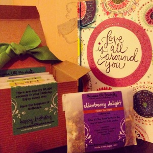 A perfect birthday gift from Laura, a tea sampler from becauseURpricelss. Thanks friend.